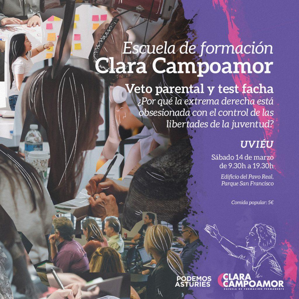 I Jornada de formación de la escuela Clara Campoamor de Podemos Asturies. Veto parental y test facha