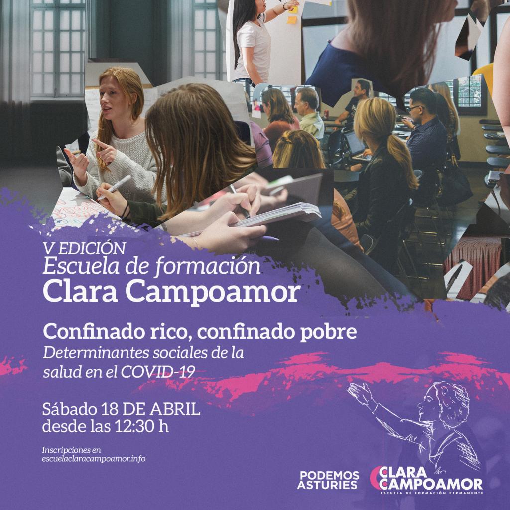V Jornada de formación de la escuela Clara Campoamor de Podemos Asturies. Confinado rico, confinado pobre