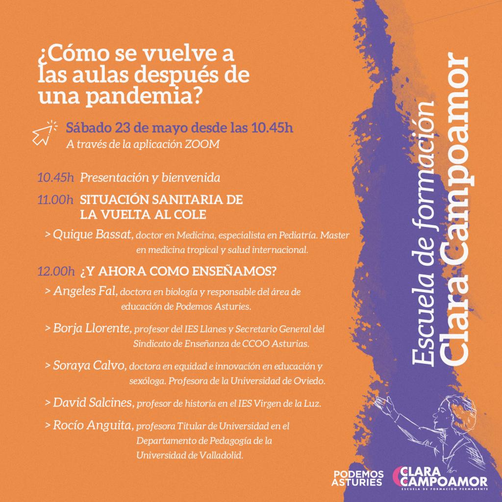 X Edición Escuela de formación Clara Campoamor: ¿Cómo se vuelve a las aulas después de una pandemia?. Sábado 23 de mayo desde las 10:45h. A través de Zoom