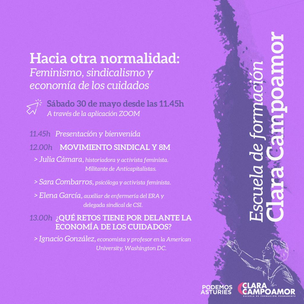XI Edición escuela de formación Clara Campoamor. Hacia otra normalidad: Feminismo, sindicalismo y economía de los cuidados. Inscripciones