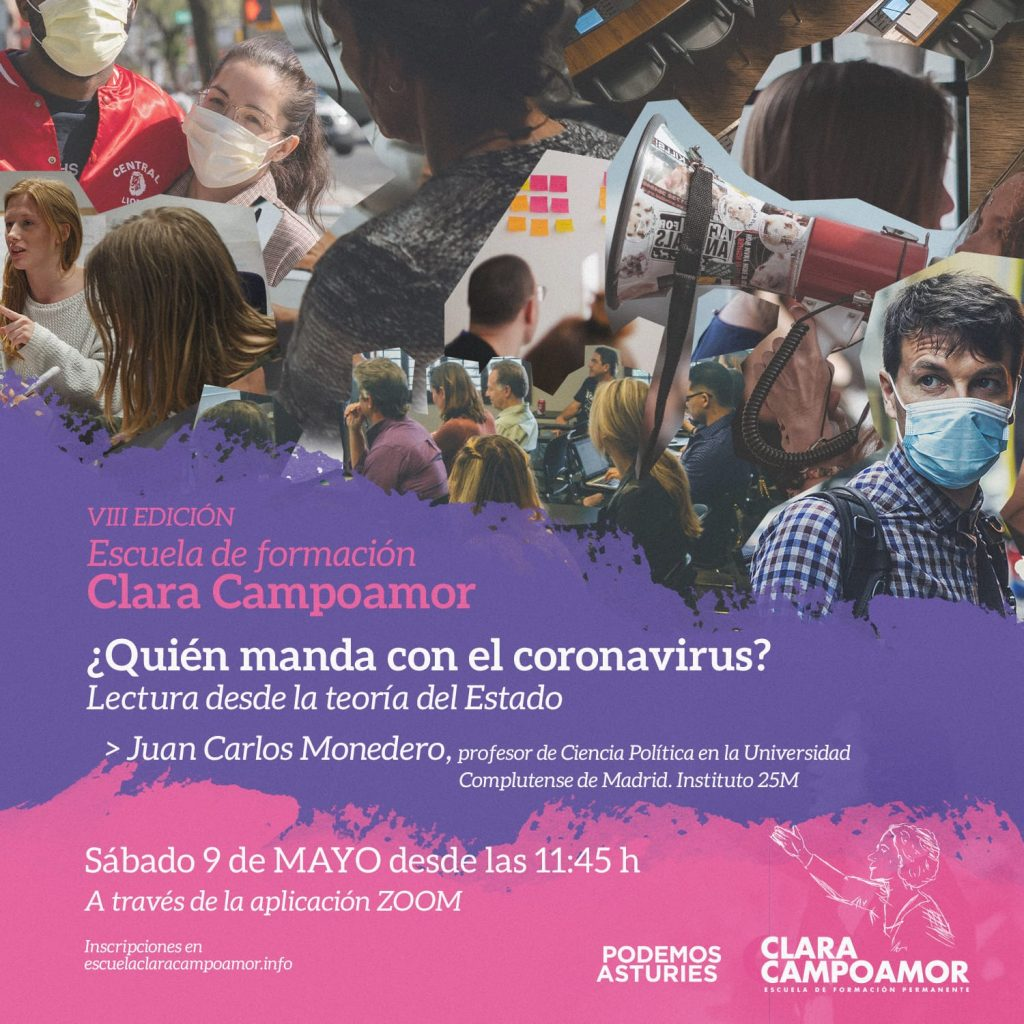 VIII Jornada de formación de la escuela Clara Campoamor de Podemos Asturies. ¿Quién manda con el coronavirus?